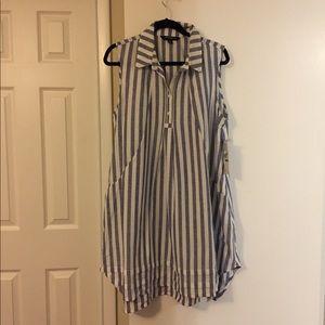 Chambray and white striped sleeveless shirt dress